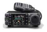 Picture of Icom IC-7000 with microphone resting on top of the radio