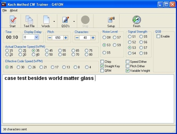 Screen shot of G4FON software