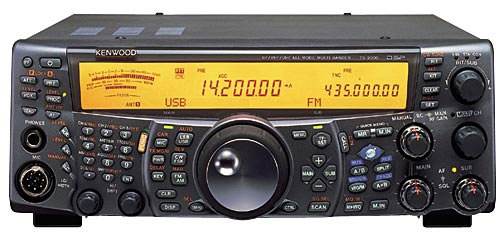 Kenwood TS-2000. The main frequency is reading 14.200 USB and the sub channel is reading 435.000 FM