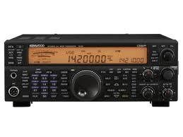A photo of the Kenwood TS-590. The orange display is reading 14.200 USB