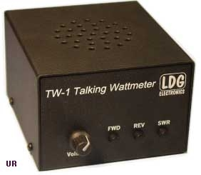 Front panel of LDG TW-1. There is a volume knob and three push buttons for forward, reverse and power.