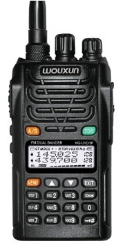 The Wouxun KG-UVD1P talking dualbander. This photo shows the radio tuned to 145.05 and 439.700