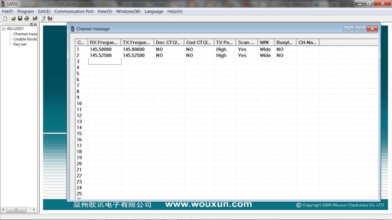 Screen grab of Wouxun PC control software.