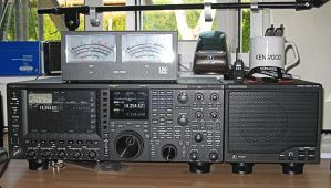 TS990 on the desk with matching speaker, and a Kenwood mug, for those long QSO's